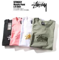camisas de logotipo da marca venda por atacado-2019 Logo Moda bordados algodão de manga curta T-shirts Japão Rua Marca T-shirts design simples cor sólida camisetas para mulheres dos homens