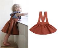 bebek kızı etek toptan satış-Ins Çocuklar Bebek Kız Askı Etek Tutu Elbiseler Kahverengi Tulum Etekler Omuz askıları Ile Renklendirme Pamuk Çocuk Kız Parti Elbise Çocuk Giyim