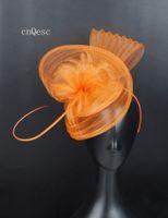 ingrosso cappello arancio derby-2019 Orange Crin fascinator copricapo da sposa fascinator sinamay base per la festa della mamma Razze kentucky derby