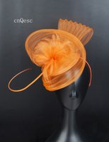 chapéu alaranjado de derby venda por atacado-2019 orange crin fascinator pena chapéu de noiva fascinator sinamay base para prom mother'day raças kentucky derby