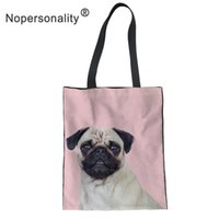Wholesale custom print canvas tote bags resale online - Nopersonality Printing Pug Reusable Shopping Bag Women Canvas Tote Bags Ladies Handbags High Capacity Shoulder Bag Custom