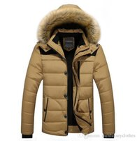 Wholesale yellow duck clothes resale online - WINTER Men Hooded Designer Down Jackets Fur Design Fleece Warm Thick Coats Clothes