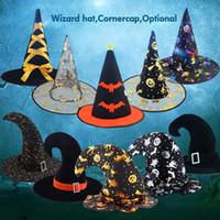 ingrosso decorazione cosplay-Halloween Strega Cappelli Masquerade Ribbon Wizard Cappello Accessori per costumi Cosplay Fancy Dress Decor Cappello Moda per bambini adulti