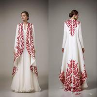 Wholesale royal cape dress resale online - Elegant Dubai Arabic Kaftan Applique Evening Gowns Ashi Studio Long Sleeve A Line Prom Dresses Formal Wear Women Cape Party Dress