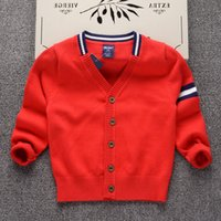 Wholesale clothes designs for baby boy resale online - Cardigan Sweater for Boys Brand Design Knit Sweater Kids Clothes Autumn baby boy Coat Toddler Sweaters Girl Pullover Top