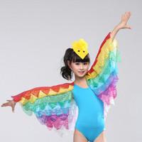 trajes de dança amarela meninas venda por atacado-New amarelo hot pink blue big pardal asas de fênix meninas criança dança cisne ballet dança traje crianças cosplay traje