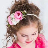 fotos de meninas de estilo venda por atacado-Doce fresco estilo country Bebés Meninas Ins flor de tecido com alça Childrens bonito da foto Props Crianças Princesa Headbands