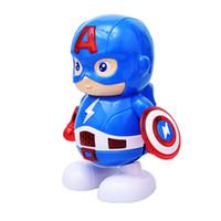lanterna led crianças venda por atacado-Dança homem de ferro figura de ação robô de brinquedo lanterna led com som vingadores capitão américa herói brinquedo eletrônico crianças brinquedos
