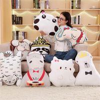 Wholesale anime panda plush for sale - Group buy Cute Animals Elephant Tiger Cat Panda Cushion Pillow Calm Sleep Dolls Plush Toys Nordic Kids Bed Room Home Decor Photo Props