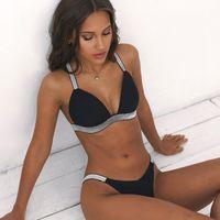 dreieck drückt bikinis auf großhandel-Sexy Push-Up Bikinis Gepolsterte Bademode 2019 Frauen Kreuzrücken Brasilianischer Bikini Set Vintage Dreieck Badeanzug Push-Up Badeanzüge