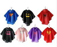 kinder rote regenmäntel großhandel-7 Arten neue Kinderregen-Mantelkinderregenmantel-Regenbekleidung-Regenanzug-Kinder imprägniern Superheld-Regenmantelqualität geben Schiff frei