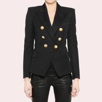 EXCELLENT QUALITY Stylish Classic Blazer for Women Double Breasted Lion Metal Buttons Blazer Plus Size S-3XL