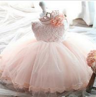 vestido caliente de niña coreana al por mayor-Ventas directas de fábrica Estilo caliente de Corea nueva niña niños diseñador encaje princesa falda vestido de manga corta de verano arco grande