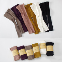 Wholesale lace leg socks resale online - Free DHL INS Colors Baby Kids Boy Girls Leggings Stockings Tights Knitted Ninth Pants High Waist Warm Pure Cotton Bottom Socks and Pants