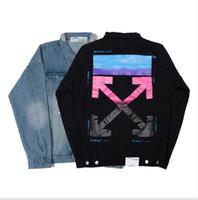 jaqueta jeans verão venda por atacado-Moda NEW monogram arrow off t mens jaqueta da mulher gradiente impresso seta casaco jaqueta jeans rasgado streetwear primavera verão m-xxl