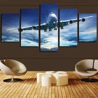 pinturas a óleo modernas azul venda por atacado-5 peça Pinturas Canvas Wall Art Oil Impressão giclée Blue Sky Aircraft Modern Pictures legal do avião Poster Artwork for Living Room Home Decor