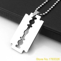 Wholesale razor blade necklaces for sale - Group buy Creative Men s Stainless Steel Razor Pendant Silver Color Ball Blade Chain Necklace T95