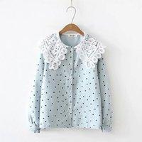 mavi gömlek beyaz polka noktalar toptan satış-Lolita gömlek mori kız sonbahar bahar Japon tarzı dantel peter pan yaka uzun kollu mavi pembe beyaz sarı polka dots bluz