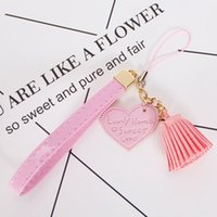 Wholesale rope for sale - Heart Tassels PU Lanyard Neck Strap For Iphone Samsung Hang Rope Mobile Phone Strap