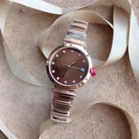 часы из розового золота для дам оптовых-29 мм кофе циферблат кварцевые женские часы розовое золото женские часы дата наручные часы три руки Алмаз час маркеры