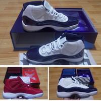 zapatos de los hombres de la marina de patente al por mayor-Box Slide Xi 11s Gym Rojo Hombres Zapatos de basquetbol Zapatillas de deporte Blanco Azul Medianoche Azul marino Zapatillas altas 11s Entrenador de mujer Zapato de tenis de nylon de charol