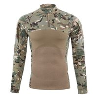 equipo de combate táctico militar al por mayor-Shanghai Story Men Tactical Gear Militar Airsoft Special Ops Camisa de combate Camuflaje Mezcla de algodón Camisa de manga larga Camisa de rana