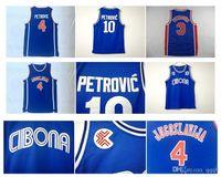 camisa de jersey superior basquete venda por atacado-10 Drazen Petrovic Jersey Universidade Cibona Zagreb JUGOSLAVIJA YUGOSLAVIA camisa de basquete faculdade azul de alta qualidade!