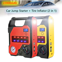 Wholesale jump starter car emergency charger for sale - Group buy 12V Air Compressor Car Tire Inflator Car Jump Starter Power Bank mAh Car Air Pump Tyre Compressor Emergency Charger Battery