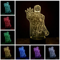 Wholesale iron man night light for sale - Group buy New Super Hero Avengers Mavel Iron Man D RGB Color Dimming Gradient Switch Touch Remote Control Night Lights Kids Bedroom Fans Gifts
