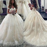 Wholesale sexy short elegant wedding dresses for sale - Group buy Vintage Champagne Full Lace Ball Gown Wedding Dresses Elegant Off Shoulder Appliques Long Train Bridal Gowns