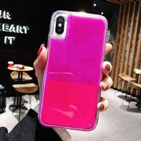 шлифовальный чехол для iphone оптовых-Для случаев iPhone XS MAX XR Luminous Solid Color Liquid Измельчитель Sand 6 7 8 Plus летние Чехлы для IPhone 11 Pro Max