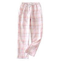 Wholesale cozy pants resale online – designer Pink fresh plaid women sleep bottoms gauze cotton cozy summer pajamas pants quality casual women pijama trousers