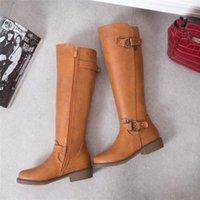 bagaj kayışları diz yüksek toptan satış-S.Romance Kadınlar Boots Kadın Kış Ayakkabı Diz Boyutu 34-43 Kare Topuk 2018 Zip Yüksek Kaliteli PU Toka Askı Yeni Moda SB359
