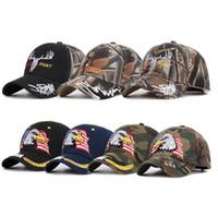 amerikan bayrağı snapback şapka toptan satış-Amerikan Bayrağı Beyzbol Şapkası 11 Stilleri Kartal Nakış Snapback Camo Açık Spor Taktik Şapka 30 adet OOA6792