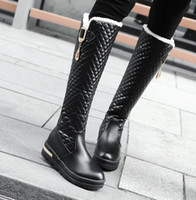 Wholesale design charm sale for sale - Group buy Hot Sale womens tall knee high boots luxury designer boots white black grid design platform wedge shoes size to