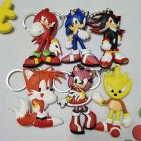 pvc japonês venda por atacado-Sonic the hedgehog anime japonês sonic the hedgehog chaveiro pvc dijiao keychain sonic dupla pvc chaveiro atacado traje adereços