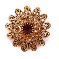 Wholesale assorted brooches for sale - Group buy baiduquandu Brand Antique Gold Color Plated Assorted Designs Crystal Rhinestones Small Flower Brooch Pins for Women or Wedding