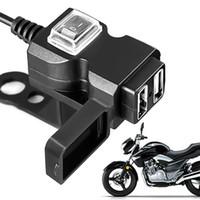 carregador usb 12v para motocicleta venda por atacado-12V-24V Porta Dupla USB Waterproof Moto Motorcycle soquete de alimentação guiador carregador adaptador de alimentação para samsung Huawei