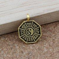 yang mode großhandel-200 teile / lose Tai Chi Bagua yin und yang fünf linien amulett Charms Antique gold Anhänger Modeschmuck DIY 12,5x16,5 MM A-393