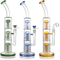 Wholesale triple tree water bong for sale - Group buy Triple tree perc glass bong pipe quot tall dab rig with quartz banger or bowl bongs heady oil rigs water pipes bubbler oil burner dabber