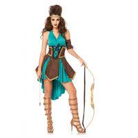 göttin kleid grün großhandel-Sexy Frauen Robin Hood Kostüme Amor Göttin grün grausamer Held Rollenspiel Cleopatral Cosplay Kleid Halloween-Kostüm für Frauen