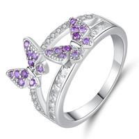 ingrosso accessori delle farfalle dei monili-Le nuove coppie europee ed americane anello donne vendita calda doppia farfalla anello accessori gioielli regalo di cristallo delle signore