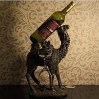 ingrosso resina cammello-Scultura in cammello vintage Portabottiglie in resina ornamentale Bottiglia di vino rosso Supporto Barware Mestiere per la decorazione domestica e regalo del festival