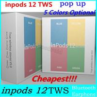 ingrosso auricolari per il colore della mela-i12 MACARON Auricolari TWS wireless Bluetooth a colori 12 auricolari 12 con controllo a sfioramento della finestra pop-up Inpodi stereo 3D HIFI12 Auricolari per cuffie sportive