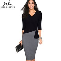 37344f97d552 Wholesale work long sleeve knee length dress resale online - Nice forever Mature  Elegant V neck