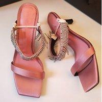 zapatos de boda rosa naranja al por mayor-Astilla negro rosa naranja mujeres pico tacón gladiador sandalias cristales abalorios señoras boda borlas vestido de moda sandalias zapatillas zapatos