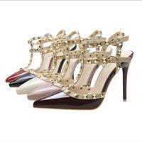 босоножки в стиле римского стиля оптовых-Женские 8см туфли на высоких каблуках Женские туфли на высоком каблуке из лакированной кожи Женские сандалии в римском стиле TY-49