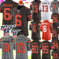 camisolas venda por atacado-Cleveland # Browns 6 Jérsei de Baker Mayfield 13 Odell Beckham Jr Jérsei 24 Nick Chubb 95 Myles Garrett 80 Landry Ward Jerseys de Williams