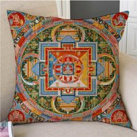 Wholesale tibetan buddhist art resale online - 18 quot Tibetan Buddhism Mandala Wall Painting Art Worship Decorative Pillow Case Mysterious Antique Buddhist Cultural Cushion Cover
