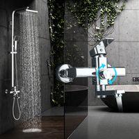 Modern Chrome Rainfall Shower Faucet Single Handle Bathtub Mixer Tap Wall Mounted